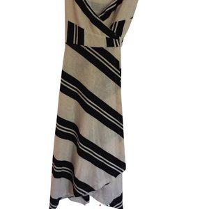 Anthropologie black & cream striped dress w/ bow